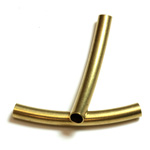 Brass Curved Bead - Hollow Tube 26x3MM RAW