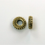 Metalized Plastic Bead - Ribbed Round Spacer 10.5MM ANT GOLD