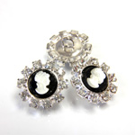 Czech Rhinestone Button - Round 18MM CRYSTAL-SILVER