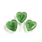 German Glass Flat Back Reverse Carved Intaglio Back 2 Rose Heart 12x11MM GREEN TURMALINE
