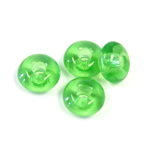 Czech Pressed Glass Bead - Round Rondelle Pony 06x11MM LT EMERALD