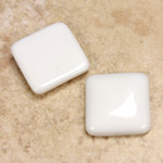 Glass Low Dome Cabochon Opaque Square Antique 18x18MM CHALKWHITE
