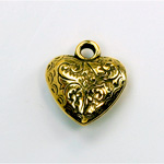 Metalized Plastic Pendant- Engraved Heart 18MM ANT GOLD