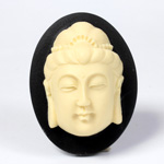 Plastic Cameo - Buddha Oval 40x30MM IVORY ON BLACK