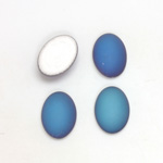 Glass Medium Dome Foiled Cabochon - Coated Oval 14x10MM MATTE HELIO BLUE
