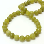 Gemstone Bead - Smooth Round 10MM JADE OLIVE