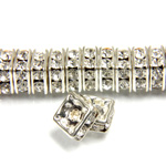 Czech Rhinestone Rondelle - Square 06MM CRYSTAL-SILVER