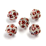 Czech Crystal Rhinestone Ball - 08MM RED ROSE-SILVER