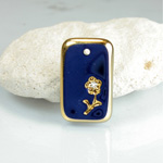 Glass Engraved Intaglio Flower Pendant with Chaton Insert - Cushion 21x13MM LAPIS with GOLD
