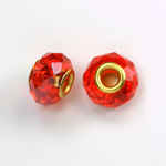Glass Faceted Bead with Large Hole Gold Plated Center - Round 14x9MM HYACINTH