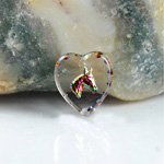 German Glass Engraved Buff Top Intaglio Pendant - Horse Head Heart 12x11MM CRYSTAL HELIO RED
