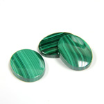 Gemstone Flat Back Single Bevel Buff Top Stone - Oval 16x12MM MALACHITE