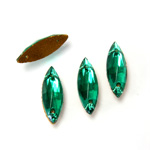 Glass Flat Back 2-Hole Sew-On Stone - Navette 14x5MM EMERALD