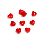 Czech Pressed Glass Bead - Smooth Heart 06x6MM RED