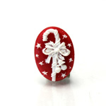 Plastic Cameo - Christmas Candy Cane Oval 25x18MM WHITE ON RED