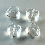 German Plastic Bead - Transparent Faceted Heart 15MM CRYSTAL