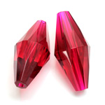 Plastic Bead -  Faceted Elongated Bicone 35x17MM ORIENTAL RUBY