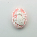 Plastic Cameo - Angel Oval 25x18MM WHITE ON PINK