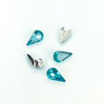 Plastic Point Back Foiled Stone - Pear 10x6MM AQUA