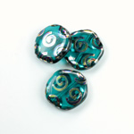 Czech Pressed Glass Bead - Smooth Flat Coin 19MM PEACOCK TEAL