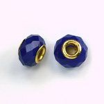 Glass Faceted Bead with Large Hole Gold Plated Center - Round 14x9MM SAPPHIRE