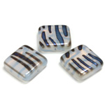 Czech Pressed Glass Bead - Smooth Flat Square 18x18MM PATTERN on WHITE OPAL