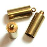 Machine Made Brass Pendant with 1-Loop End Cap 14x6.5MM RAW Unplated