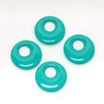 Plastic Pendant - Opaque Color Smooth Round Creole 17MM BRIGHT GREEN TURQUOISE