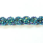 Acrylic Rhinestone Bead with 2MM Hole Resin Base - 14MM METALLIC BLUE