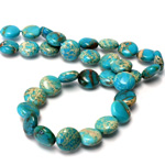 Gemstone Bead - Smooth Round Lentil 10MM SEA SEDIMENT JASPER DYED TURQUOISE