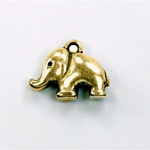 Metalized Plastic Pendant- Elephant 20x15MM ANT GOLD