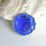 German Glass Engraved Pendant - Rose 18MM MATTE LIGHT SAPPHIRE Foiled
