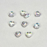 Czech Pressed Glass Bead - Smooth Heart 06x6MM CRYSTAL AB