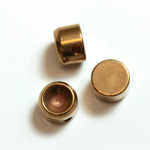 Brass Machine Made Bead - Engraved with Recess Round 07MM RAW BRASS