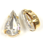 Crystal Stone in Metal Sew-On Setting - Pear 13x7.8MM CRYSTAL-RAW