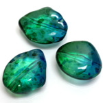 Plastic Bead - Two Tone Speckle Color Smooth Baroque Large 3 Part Mixed BLUE GREEN