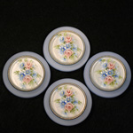 German Plastic Porcelain Decal Painting - Flowers (2051) Round 35MM MATTE CRYSTAL ON MATTE LIGHT SAPPHIRE
