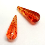 Plastic Bead - Two Tone Speckle Color Smooth Pear 29x12MM ORANGE YELLOW