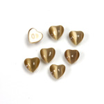 Fiber-Optic Cabochon - Heart 06MM CAT'S EYE BROWN