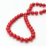 Gemstone Bead - Smooth Round 08MM DOLOMITE DYED RED