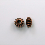 Metalized Plastic Bead - Ribbed Spacer 08MM ANT COPPER
