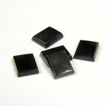 Gemstone Flat Back Single Bevel Buff Top Stone - Cushion 10x8MM BLACK ONYX