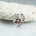 German Glass Engraved Buff Top Intaglio Pendant - STAR OF DAVID Heart Shape 12x11MM CRYSTAL HELIO RED