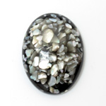 Plastic Flat Back Cabochon - Inlay Shell Oval 40x30MM BLACK