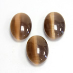 Fiber-Optic Flat Back Cabochon - Oval 18x13MM CAT'S EYE BROWN