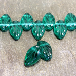 Czech Pressed Glass Engraved Pendant - Leaf 11x7MM EMERALD