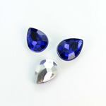 Plastic Point Back Foiled Stone - Pear 14x10MM SAPPHIRE
