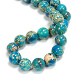 Gemstone Bead - Smooth Round 12MM SEA SEDIMENT JASPER DYED TURQUOISE