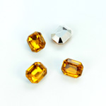 Plastic Point Back Foiled Stone - Cushion Octagon 10x8MM TOPAZ