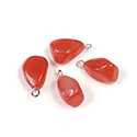 Gemstone Tumble Polished Pendant with Silver Plated Ring - Small QUARTZ DYED RED (44)